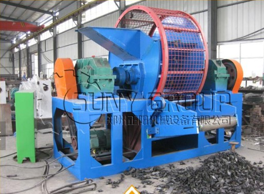 Waste tire crusher